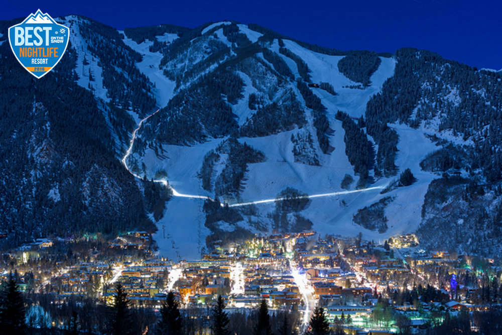 Aspen Snowmass shines just as bright after the sun goes down. - © Daniel Bayer