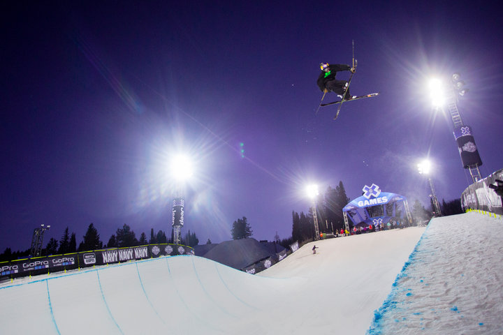 Sending the Buttermilk half pipe at the Winter X-Games. - ©Jeremy Swanson