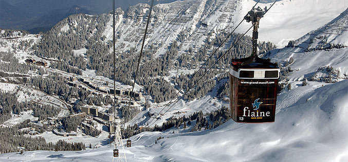 Riding the cable car up in Flaine, Le Grand Massif ski area in France