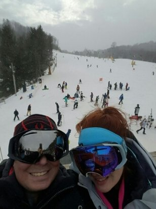 Cataloochee Ski Area - started snowing half the day in on new years eve day. 12/31/16. open and packed that day. - © cory