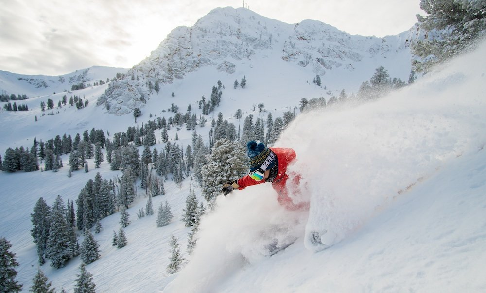 Classic powder garb at Snowbasin this January. - ©Chris Morgan