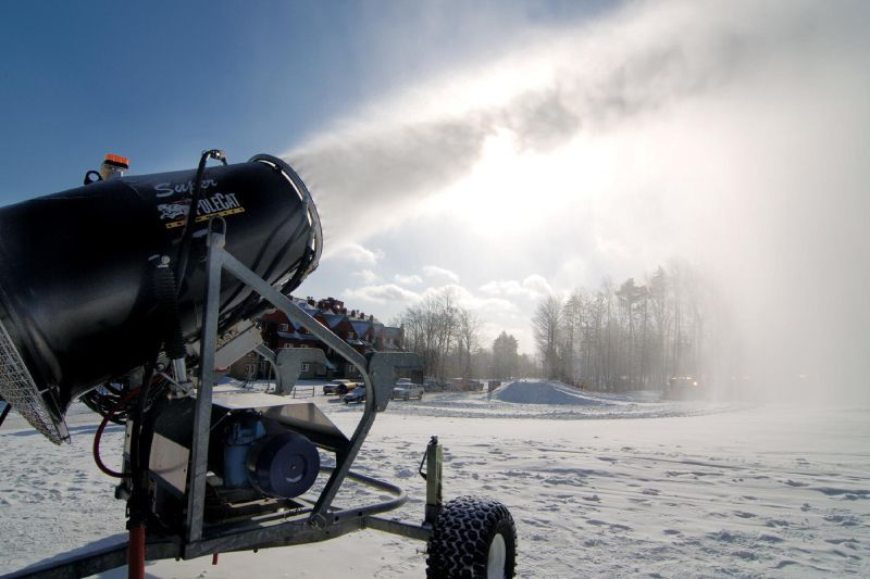 A snowmaking gun at Mt Snow, VT.