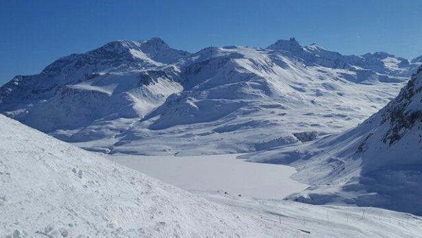 Val Cenis - super neige en haut du domaine, soleil radieux : magnifique ! - © Nath