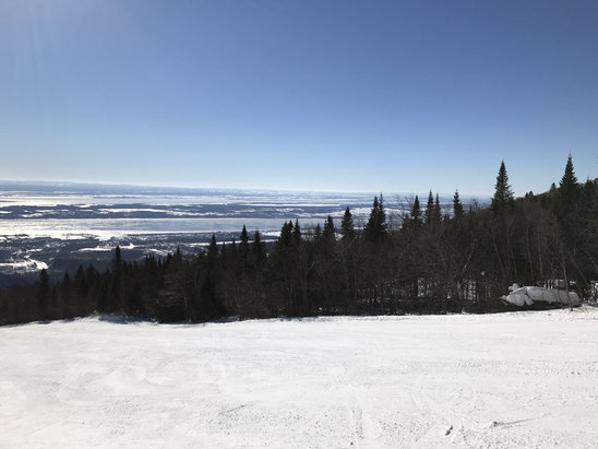 Mont Sainte Anne - Groomed, firm conditions.  Icy steeps.  Bluebird skies.  - © Paul's iPhone