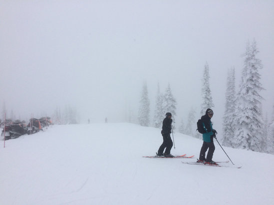 Whitefish Mountain Resort - Great fun at Whitefish for a couple of days. Fresh snow every day and nice temps. Bit slushy lower down in afternoons but up high great.Their snow reporters need to find some new words - obsessed with cream and butter!! - © Cheetah's iPhone