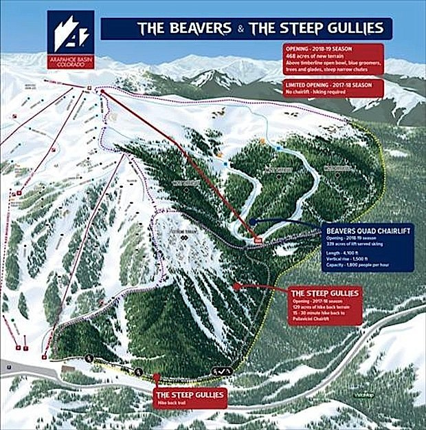 Access to the new bowls, intermediate terrain and advanced tree skiing will be enhanced by a new fixed-grip quad chairlift that's set to be installed during summer 2018 and ready to open by the 2018-2019 season.  - ©Arapahoe Basin