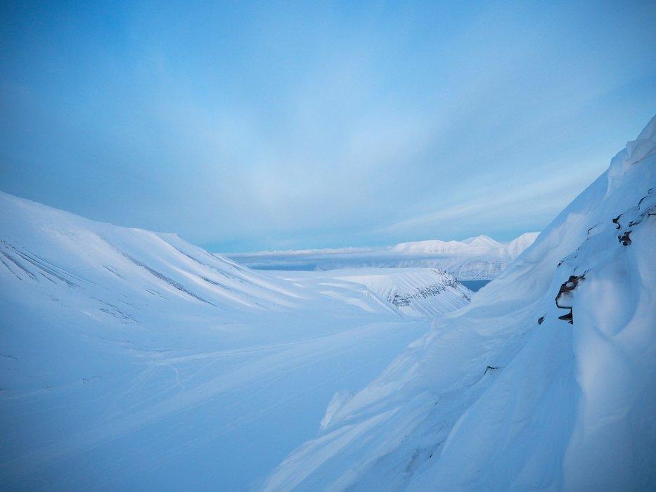 Landskapet på Svalbard er morenegrunn, med skarpe kanter og knauser, men ofte flate på toppen. - ©Vigdis Skogly