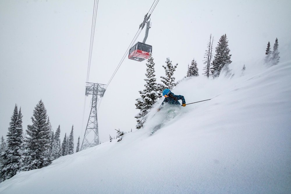 Kim making effortless floating turns under the tram.  - © Jackson Hole Mountain Resort