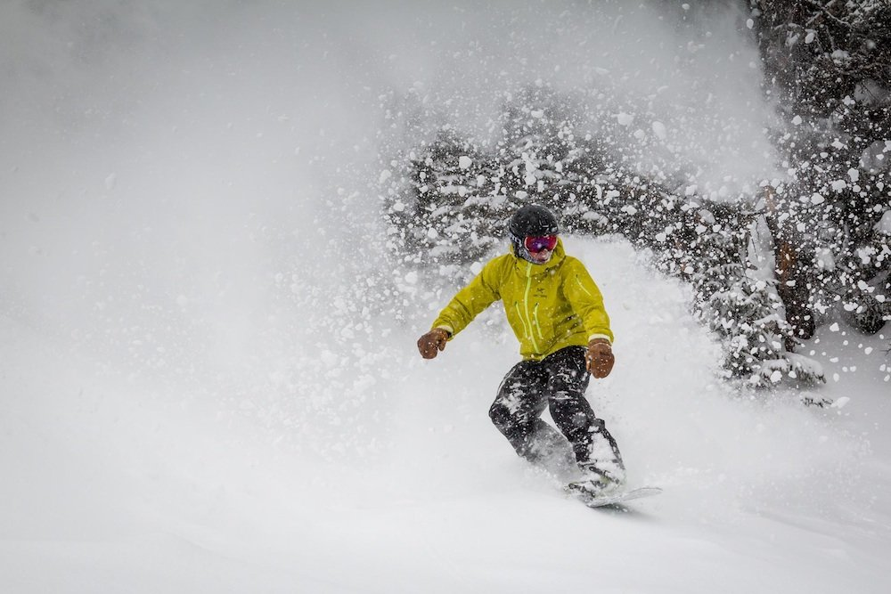 DJ getting barreled off of Teton Lift.  - ©Jackson Hole Mountain Resort