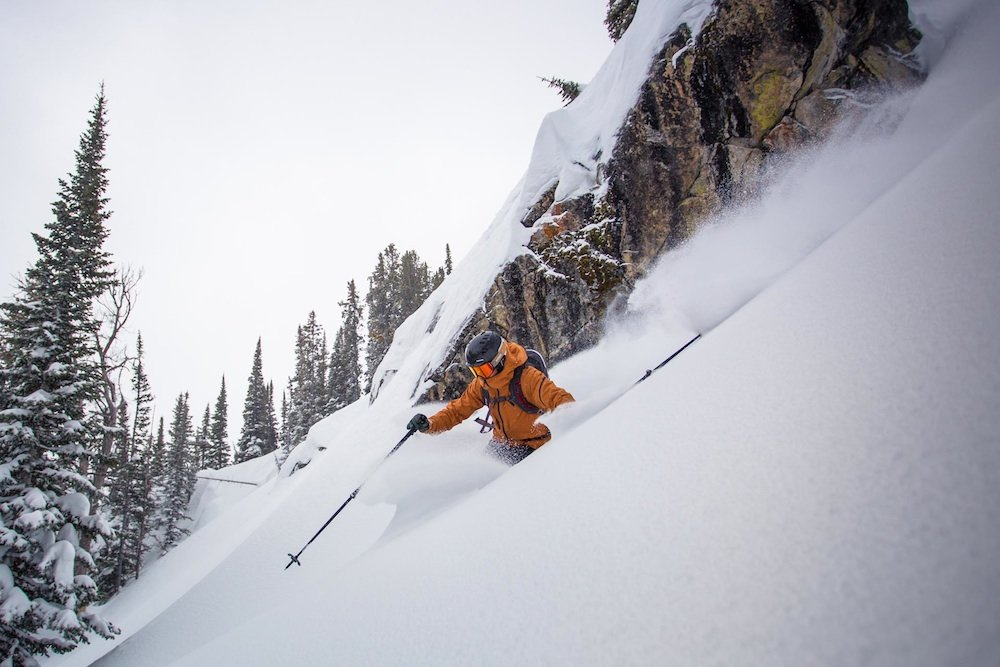 Bobby finding the sweet spot in Bivouac trees. - ©Jackson Hole Mountain Resort