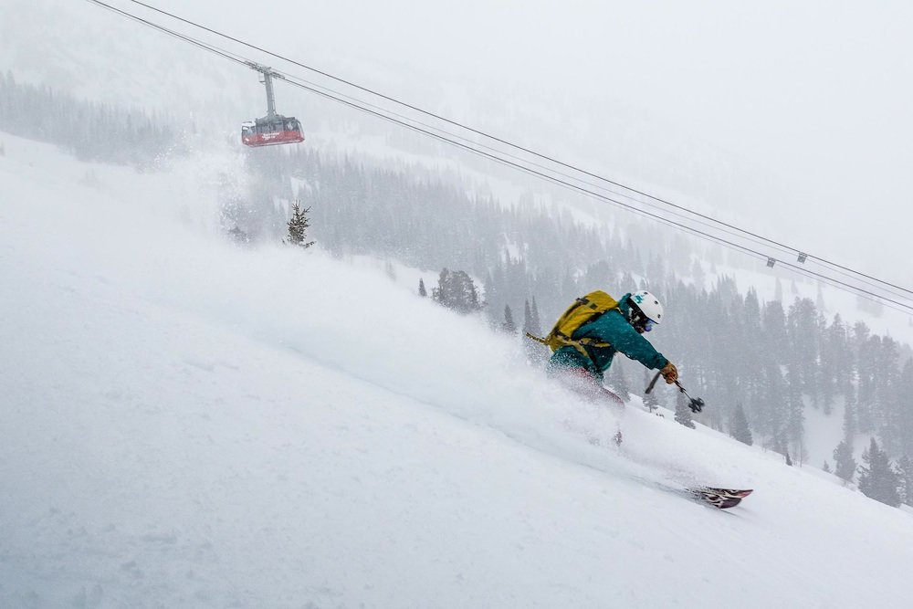 Ilka finding powder all the way to the lower mountain.  - © Jackson Hole Mountain Resort