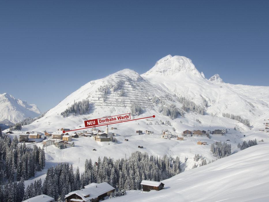 Ansicht der neuen Dorfbahn in Warth am Arlberg - © Warth-Schröcken