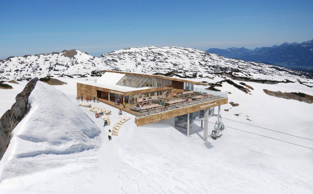 Die neue Bergstation mit Panoramarestaurant am Ifen im Kleinwalsertal - © www.ok-bergbahnen.com