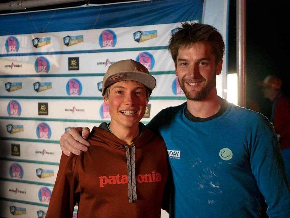 So sehen Sieger aus: Alex Megos (EM-Silber) und Jan Hojer (Weltcupsieg und EM-Gold) - ©Alexander Megos / Facebook