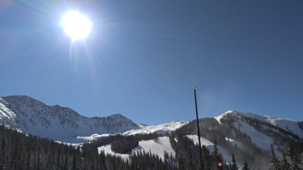 Arapahoe Basin Ski Area - Busy. 1 run open from the top, long lines, but sunny and fresh snow. They should be able to open new terrain soon. This storm helped big time. - © Iceburge