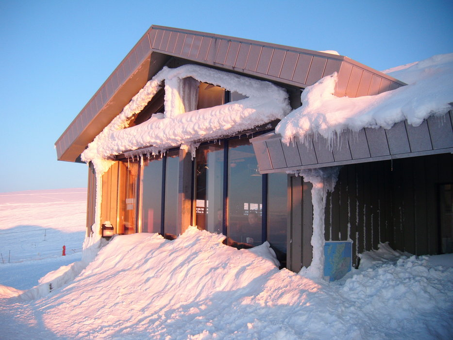 Snow covered lodge at Cairngorm Mountain, Scotland