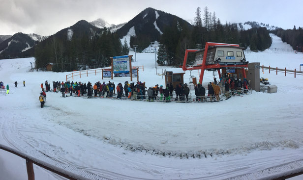 Fernie Alpine - Opening day line on deer chair. 
