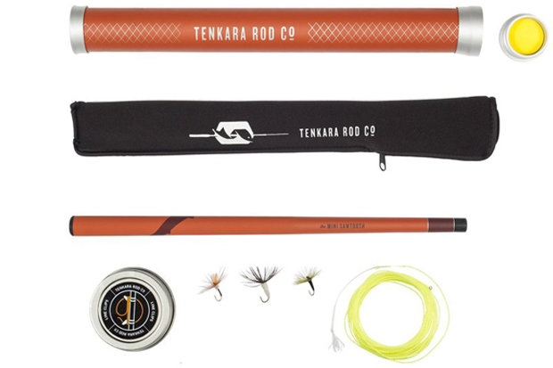 Tenkara Mini Sawtooth Package: $199 Take fly fishing to new heights this summer with the Tenkara Mini Sawtooth Package. The Mini Sawtooth fly rod is comprised of 15 sections and collapses to just under 14 inches. When extended, the rod reaches over 8 feet. The package includes everything you need to start fishing right out of the box, including rod, line, flies, line clips, 5x tippet, rod sock and rod tube.