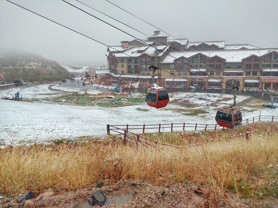 Park City Mountain Resort base area caught between seasons.  - © Park City Mountain Resort