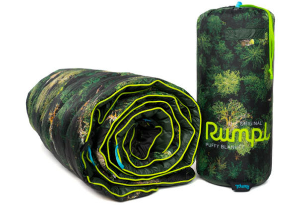 "Rumpl Old Growth Puffy Blanket: $129 Stay warm and save the planet with this 20D ripstop polyester blanket. The Old Growth Puffy Blanket features photography by Jeremy Koreski with proceeds benefiting 1% For The Planet and the Raincoast Conservation. Stuff sack included. Throw size: 50""x70""."