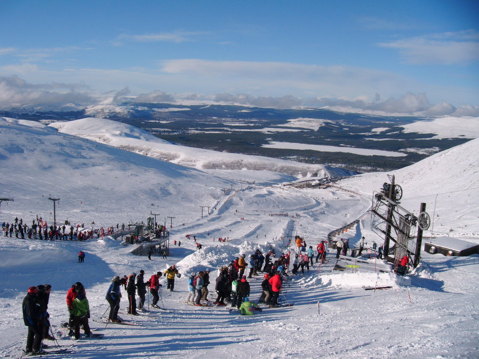 A busy day at Cairngorm, Scotland with visitors lined up and ready to go. - ©Cairngorm Mountain