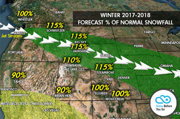 Percentage of normal snowfall by resort for the 2017/2018 ski season. - © Meteorologist Chris Tomer