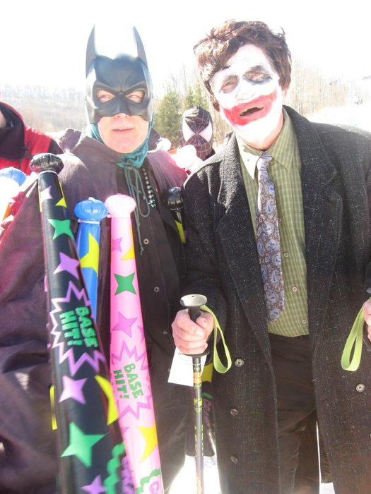 Skiers in costume at Holiday Valley, NY Winter Carnival