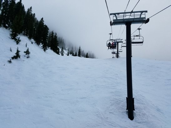 Stevens Pass Resort - It's chunky up high and a bit slushy down low, but well groomed and still fast. - © anonymous