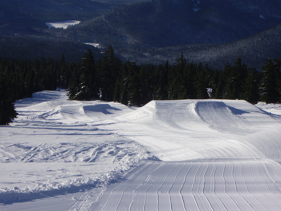 Series of jumps at Timberline's Terrain Park, Oregon.