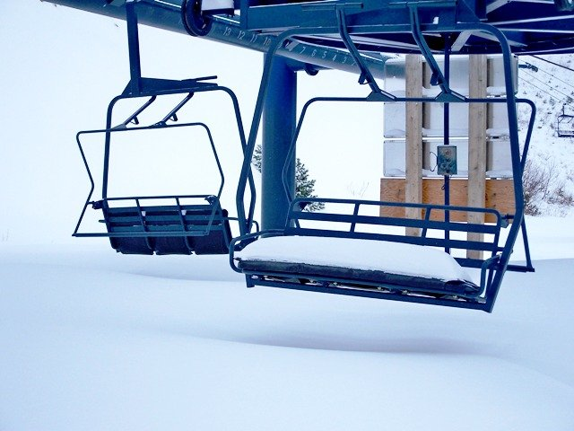 Snow-covered chairlift at Silver Mtn, ID