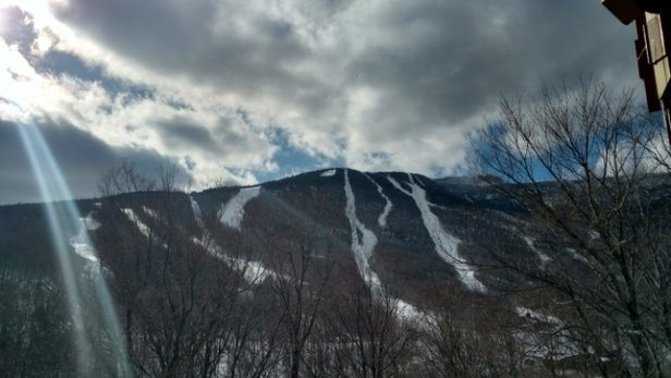 Stowe Mountain Resort - Most of the trails are nothing but groomed ice.  Waited for the sun and traffic to loosen it up it didn't help much. Hardly anyone on the mountain now as I look out from my room. - © Dan
