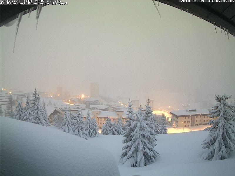 Eccezionale nevicata a Sestriere 09.01.18 - © Sestriere webcam