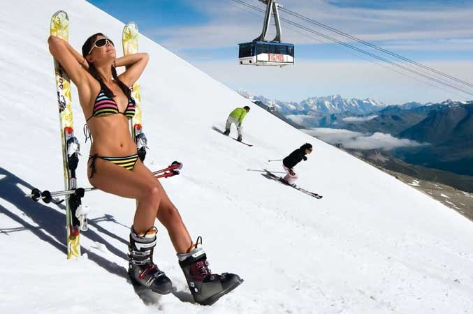 Strip off for summer skiing in Tignes, France - ©Tignes
