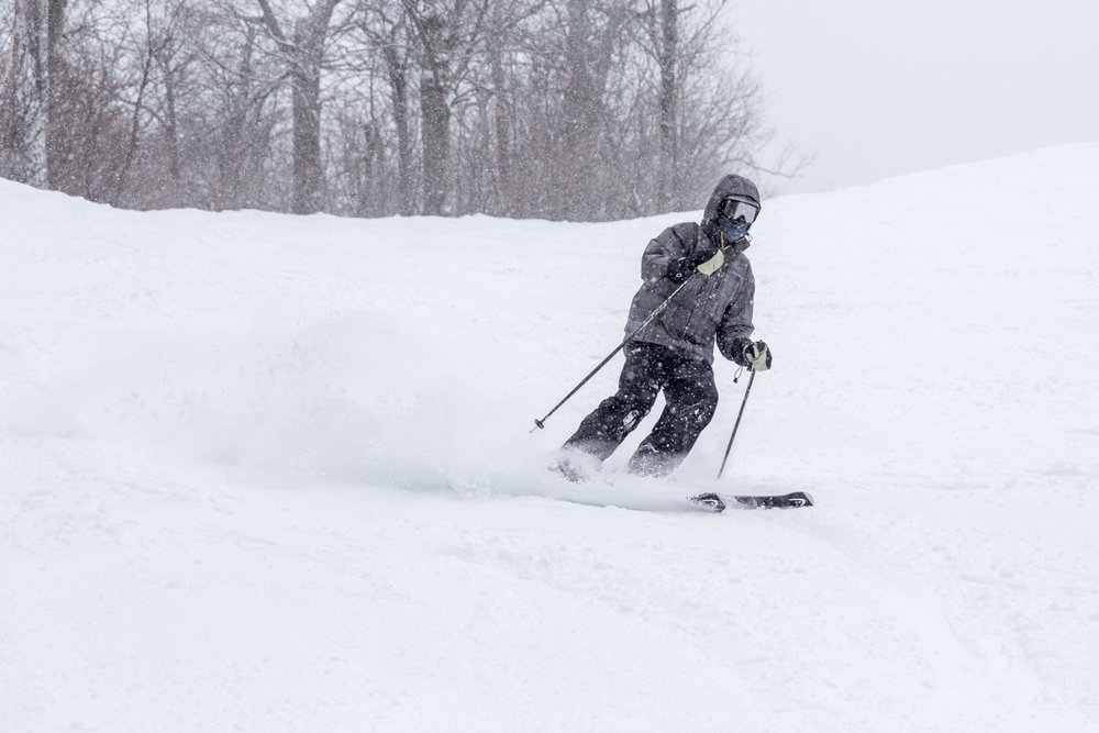 Enjoying the powder at Wachusett Mountain Ski Area. - © Andrew Santoro