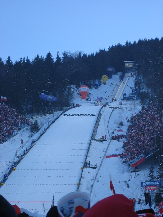 Skijump area set up for competition at Zakopane, Poland.