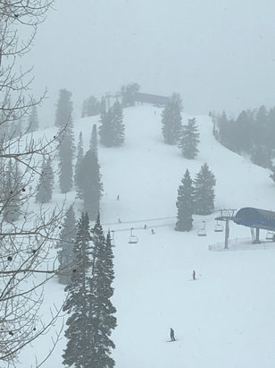 "Solitude Mountain Resort - Awesome day. The beginning of a huge system moved in. At least 3-4"" of freshies  - © richard's iPhone"
