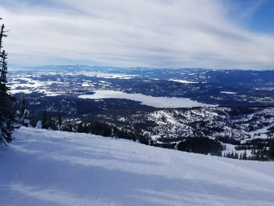 Whitefish Mountain Resort - A little firm and thin on one side, but spring skiing soft snow in the other. - © Kris