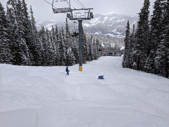 Copper Mountain Resort - soft Moguls flurries all day. nice temp. a bit windy up top - © anonymous