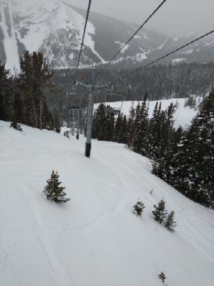Big Sky Resort - Apparently it snows here every day. It got a little wet at the end of the day, but we lapped the Dakota lift for the better part of the afternoon, and it was pretty great.  - © DanaCharles