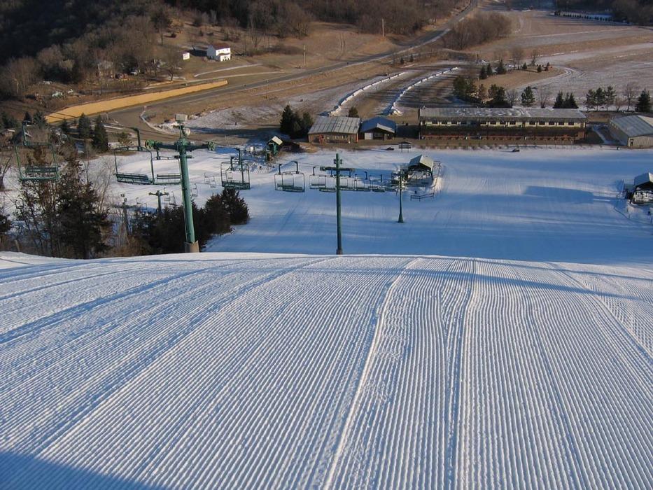 Groomer slope at Mt Kato, MN.