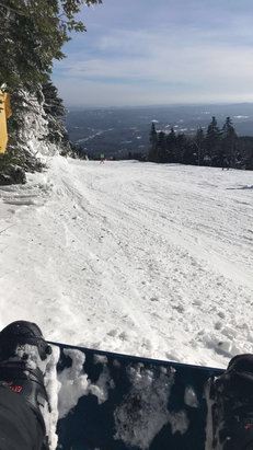 Mount Snow - Conditions today were awesome, there was a little bit of ice on the north face but all of the other open trails were great.  Fresh powder and even some residual snow. I was very happy with the ride today  - © Mikey's Iphone