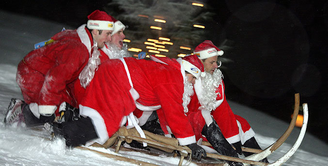Annual Santa World Championships in Samnaun, Switzerland