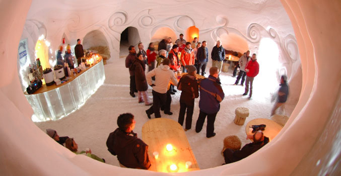 Chilling out at an ice bar in St. Moritz - Corviglia