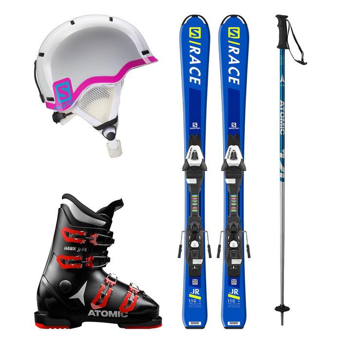 Dětský lyžařský set k zapůjčení online: Dívčí set s růžovou přilbou a modrými lyžemi - © mall.cz/CZ SKI