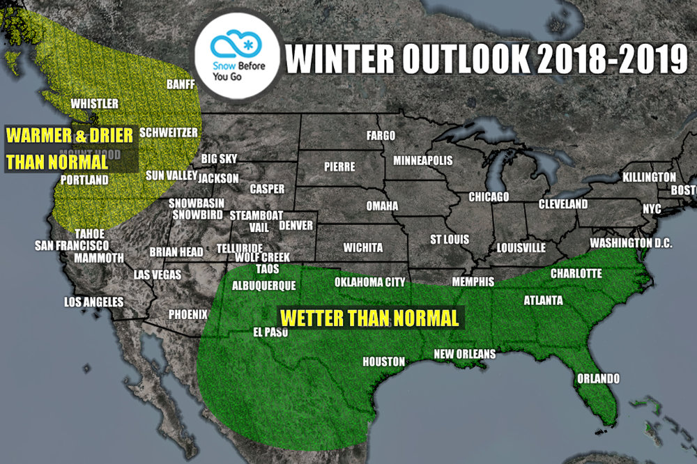 Long-range ski forecast for North American ski resorts, 2018/2019. - © Meteorologist Chris Tomer