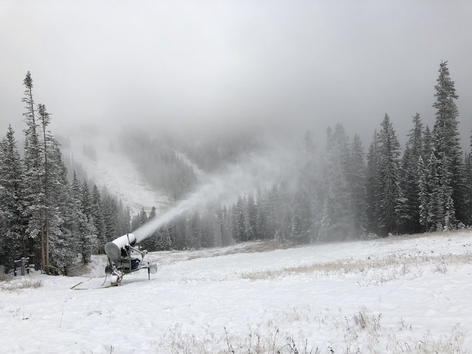 Loveland Ski Area making snow the morning of October 8, 2018. - © Dustin Schaefer, Loveland Ski Area