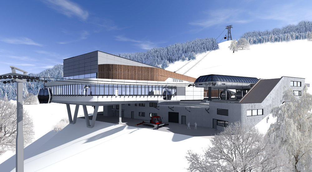 Die Bergstation der MK Maiskogelbahn ist zugleich auch die Talstation der 3 K K-onnection, Salzburgs erster 3S-Bahn. Rendering: MAB Architektur Projektmanagement - © MAB Architektur Projektmanagement