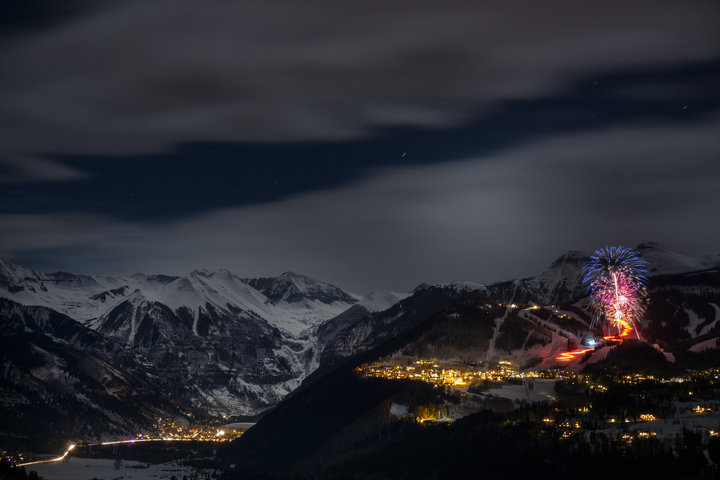 Fireworks and a torchlight parade kick off Telluride's New Year's Eve celebration. - © Visit Telluride/Ryan Bonneau