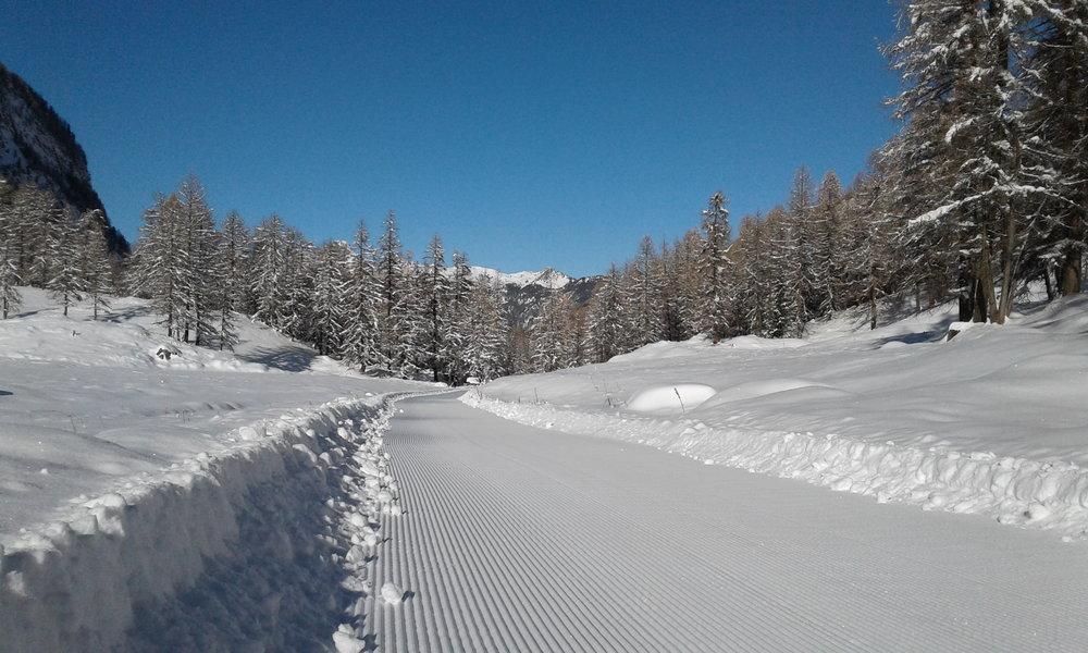 Sur le site nordique de Ceillac, dans le Queyras, 12 km de pistes de ski sont d'ores et déjà damés, tracés et balisés en vue d'une ouverture anticipée dès ce week-end. - © OT du Queyras