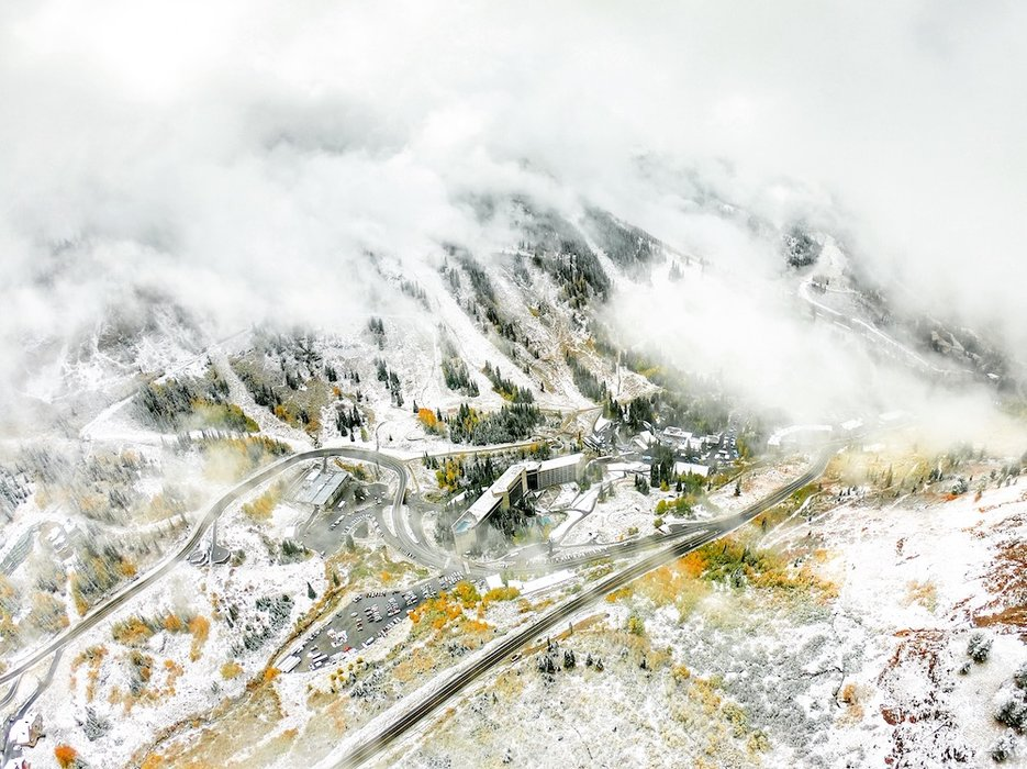October snow at Snowbird created a stunning mix of fire and ice. - © David Amirault, Snowbird